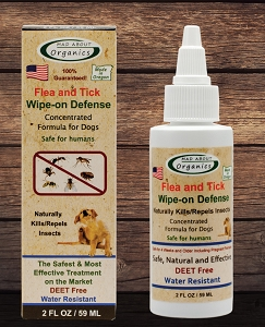 Organic Flea and Tick Wipe-on Defense Formulated for Dogs 2oz
