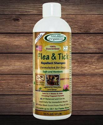 Organic Flea and Tick Repellent Shampoo Formulated for Dogs 16oz