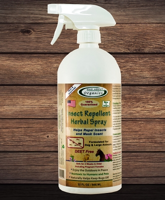 Organic Insect Repellent Herbal Spray for Dogs and Large Animals 32oz