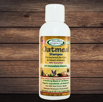 Organic Oatmeal Shampoo 4oz Formulated for Cats and Small Animals