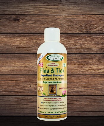 Organic Flea and Tick Repellent Shampoo Formulated for Dogs 8oz